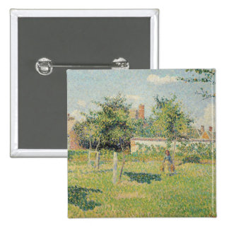 Woman in the Meadow at Eragny, Spring, 1887 15 Cm Square Badge