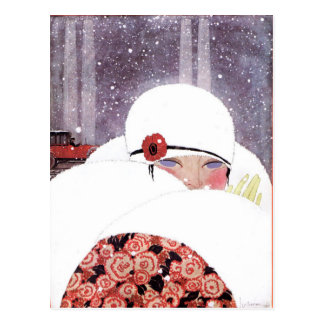 WOMAN IN THE SNOW,WINTER BEAUTY FASHION POSTCARD