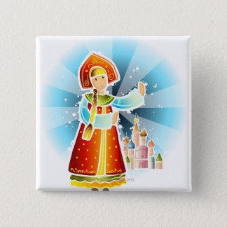 Woman in traditional Russian costume 15 Cm Square Badge