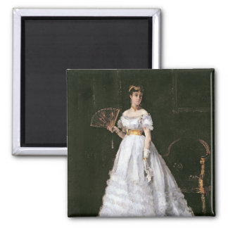 Woman in White Square Magnet