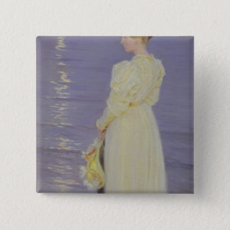 Woman in White on a Beach, 1893 15 Cm Square Badge