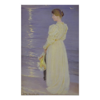 Woman in White on a Beach, 1893 Poster