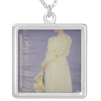Woman in White on a Beach, 1893 Silver Plated Necklace