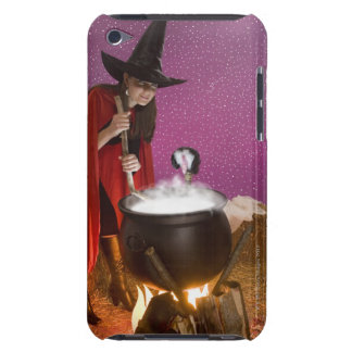 Woman in witch costume stirring cauldron iPod touch covers