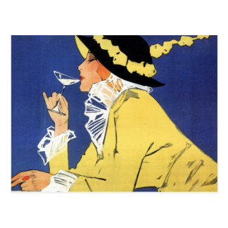 Woman in Yellow having a Drink Postcard