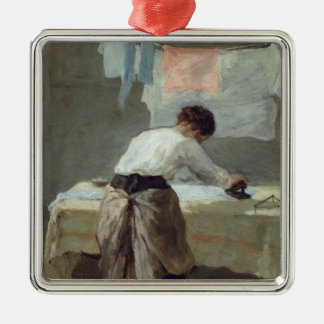 Woman Ironing Christmas Ornament