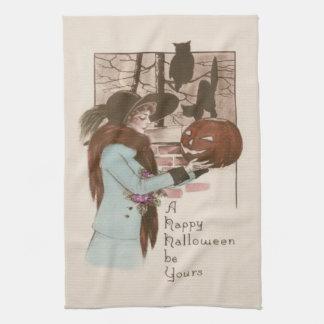 Woman Jack O' Lantern Pumpkin Owl Tea Towel