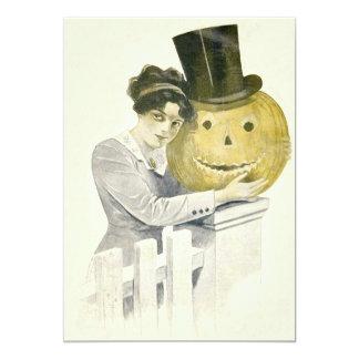 Woman Jack O' Lantern Top Hat Pumpkin 13 Cm X 18 Cm Invitation Card