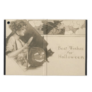 Woman Jack O' Lantern Witch Black Cat Case For iPad Air