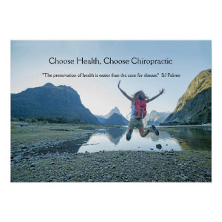 Woman jumping at lake Chiropractic Poster