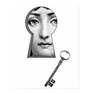 Woman keyhole postcard
