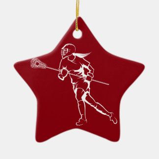 Woman Lacrosse Player Running Christmas Ornament