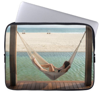 Woman Laying On A Hammock At A Small Hotel Laptop Sleeves