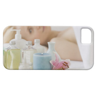 Woman laying on spa table iPhone 5 case