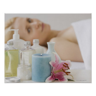 Woman laying on spa table poster