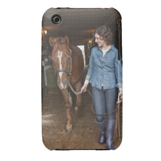 Woman leading horse iPhone 3 Case-Mate case