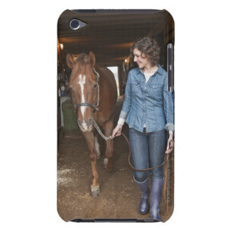 Woman leading horse iPod touch case