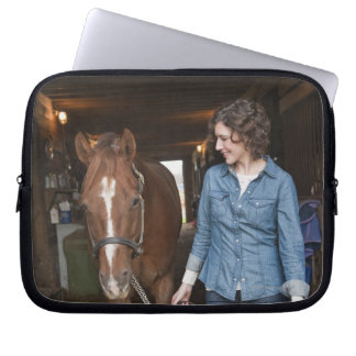 Woman leading horse laptop computer sleeves
