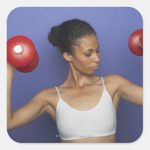 Woman lifting dumbbells 3 sticker