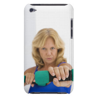 Woman lifting dumbbells barely there iPod case