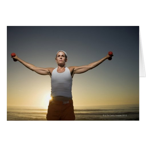 Woman lifting weights 4 greeting cards