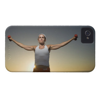 Woman lifting weights 4 Case-Mate iPhone 4 cases