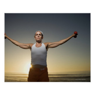 Woman lifting weights 4 poster