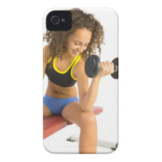 Woman lifting weights iPhone 4 Case-Mate cases