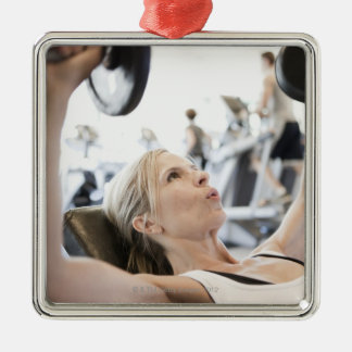 Woman Lifting Weights Silver-Colored Square Decoration