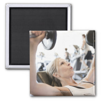 Woman Lifting Weights Square Magnet