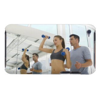 Woman lifting weights with trainer barely there iPod case