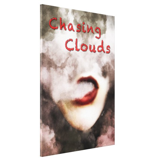 Woman Lips Clouds Vape Grunge Wrapped Canvas