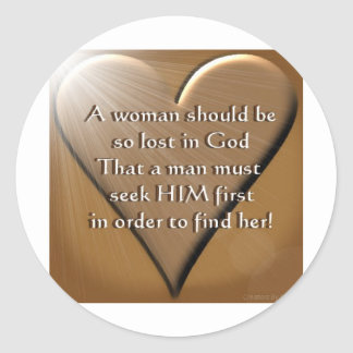 Woman Lost In God Classic Round Sticker