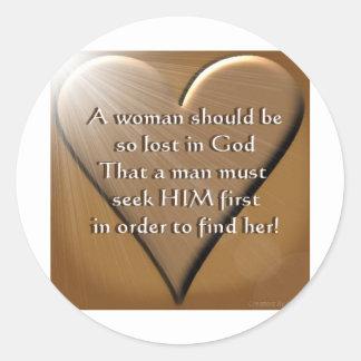 Woman Lost In God Round Sticker