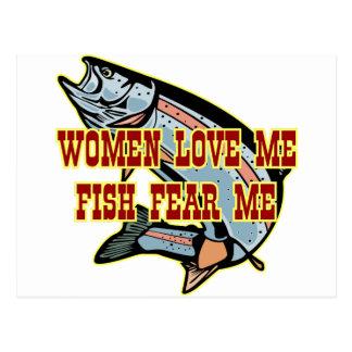Woman Love Me Fish Fear Me Postcard