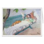 Woman Lying on a Bench, 1913 (w/c on paper) Greeting Card