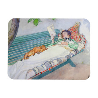 Woman Lying on a Bench, 1913 (w/c on paper) Rectangular Photo Magnet