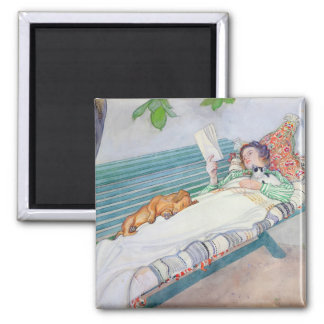 Woman Lying on a Bench, 1913 (w/c on paper) Square Magnet