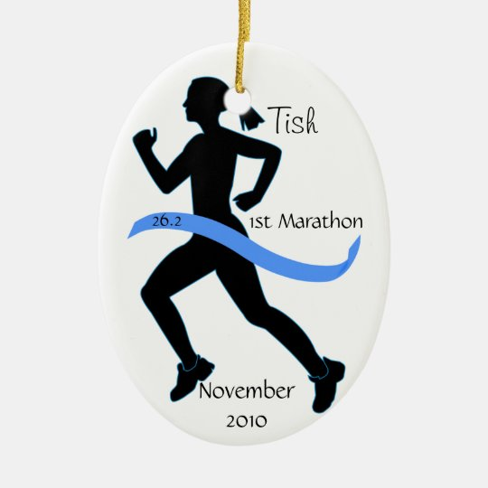 Woman Marathon Runner Ornament