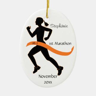 Woman Marathon Runner Ornament in Orange