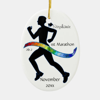 Woman Marathon Runner Puzzle Rainbow Ribbon Christmas Ornament