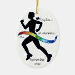Woman Marathon Runner Puzzle Rainbow Ribbon Christmas Ornaments