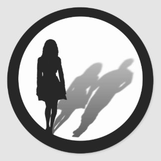 Woman Missing Man Silhouette Round Stickers