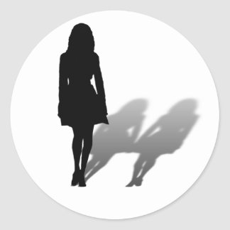 Woman Missing Woman Silhouette Round Sticker