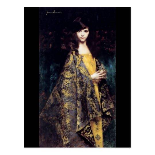Woman mystic gothic black gold fine art jaquard