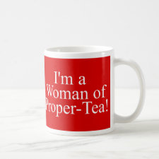 Woman of proper-tea mug in red