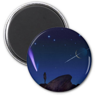 Woman on a Moon Refrigerator Magnet