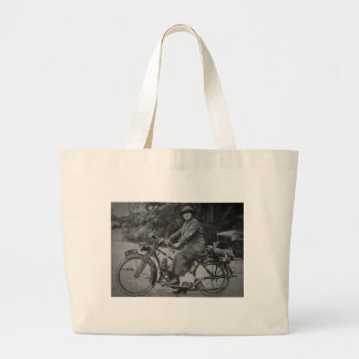Woman on a Motorcycle Early 1900s Vintage Tote Bag