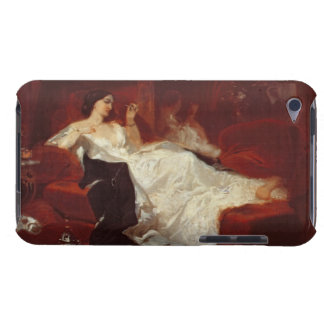 Woman on a red sofa iPod Case-Mate case
