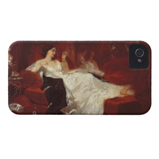 Woman on a red sofa iPhone 4 case